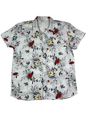 Camisa Masculina Estampada Manga Curta Algodão - Floral