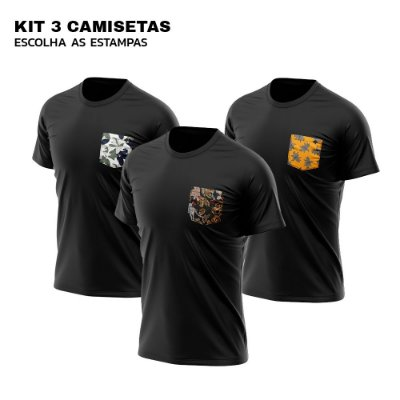Kit 3 Camisetas Bolso Estampado Algodão Premium 30.1 - Escolha a estampa