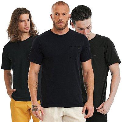 Kit 3 Camisetas Básicas 100% Algodão - Pretas