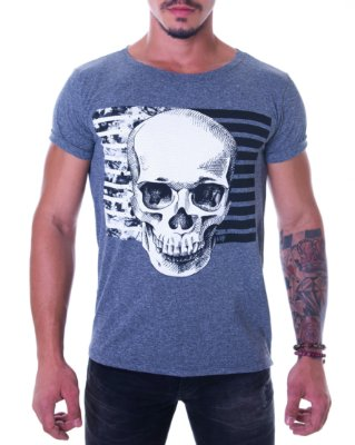 Camiseta Masculina (Alta resolução) - B&W Skull