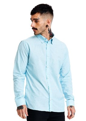 Camisa Masculina Manga Longa Botonê Azul