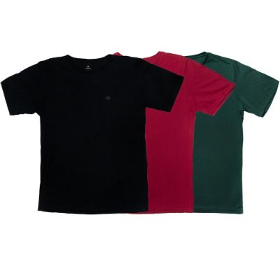 Kit de 3 Camisetas Básicas Bordadas 100% Algodão LaVíbora - Gola regular
