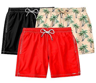 "Kit 3 Shorts ""Clássicos"" - Allblack, Vermelho e Paradise"