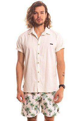 Camisa Masculina Manga Curta Algodão Cru Linen