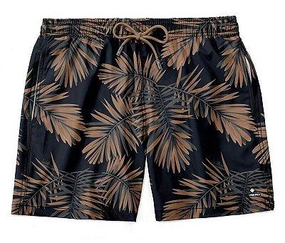 Shorts Praia Masculino Estampado LaVíbora - Folhagem Marrom