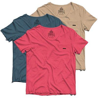 Kit Colors 3 Camisetas Básicas Tingidas - Corte a Fio