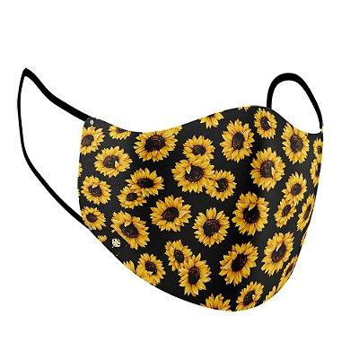"Máscara de Tecido ""Estilo Ninja"" Dupla Camada 100% Algodão LaVíbora - Sunflower"