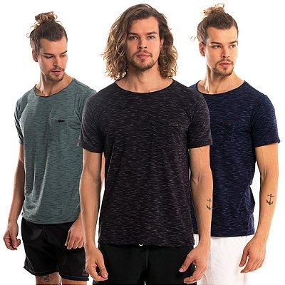 Kit de 3 Camisetas Mesclas Básicas  - Verde, Preto e Azul