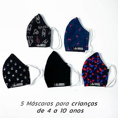"INFANTIL: Box Surpresa de 5 Máscaras Estampadas Infantis de Tecido ""Modelo Ninja"" 100% Algodão LaVíbora"