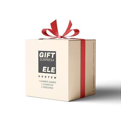 """Gift Surpresa """"Dia dos namorados"""": 1 Shorts, 2 Camisetas e 2 Máscaras - PARA ELE"""