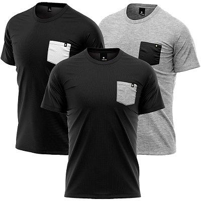 Kit 3 Camisetas Básicas Algodão Premium 30.1 - Bolsos Inversos
