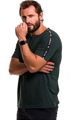 Camiseta Básica Masculina Faixa Lateral 100% Algodão LaVíbora - Verde Floresta