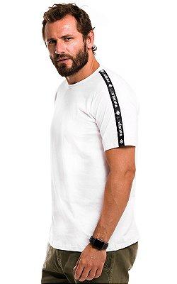Camiseta Básica Masculina Faixa Lateral 100% Algodão LaVíbora - Branco