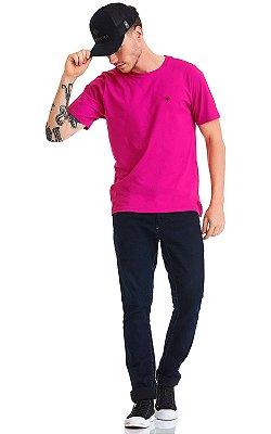 Camiseta Básica Masculina Bordado 100% Algodão Penteado - Rosa