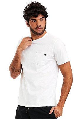 Camiseta Básica Masculina Bolso Destroyed 100% Algodão - Branca
