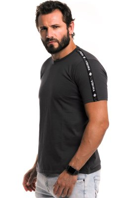 Camiseta Básica Masculina Faixa Lateral 100% Algodão LaVíbora - Cinza