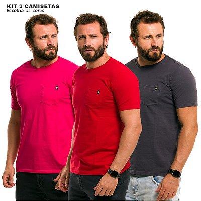 Kit 3 Camisetas Básicas Bolsos Lisos Algodão Premium 30.1 - Escolha as cores