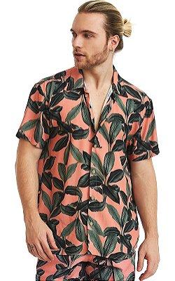 Camisa Masculina Estampada Manga Curta Viscose - Playa