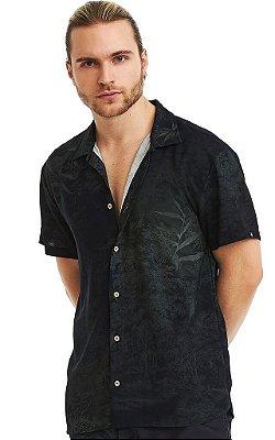 Camisa Masculina Estampada Manga Curta Viscose - Dark