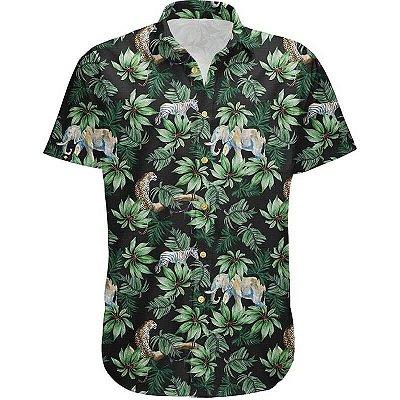Camisa Masculina Estampada Manga Curta Viscose - Amazônia