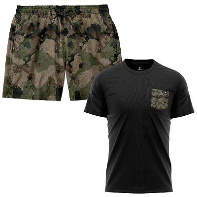 Kit Shorts Praia E Camiseta Bolso Estampado LaVibora - Camuflado
