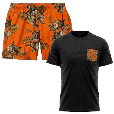 Kit Shorts Praia E Camiseta Bolso Estampado LaVibora - Abacaxi Tropical