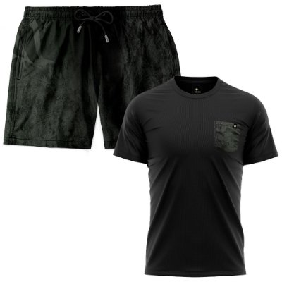 Kit Shorts Praia E Camiseta Bolso Estampado LaVibora - Dark