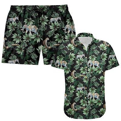 Kit Shorts Praia E Camisa Manga Curta Viscose LaVibora - Amazônia