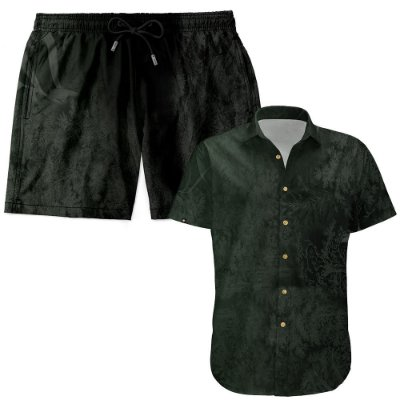 Kit Shorts Praia E Camisa Manga Curta Viscose LaVibora - Dark