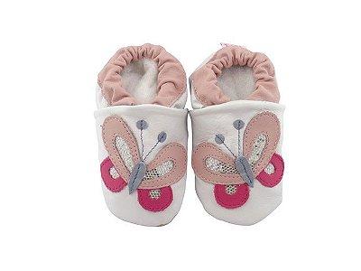 Pantufa Infantil Catz Nicky Borboleta Branca e rosa