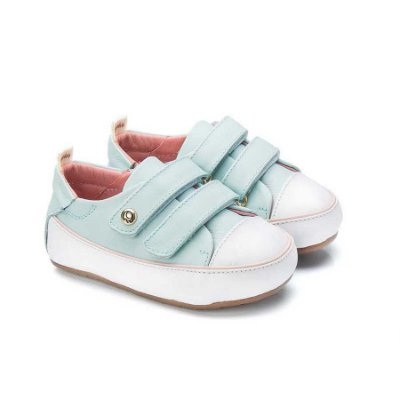Tênis infantil Sheep Shoes by Gambo Azul bebê e Rosa Blush Velcros