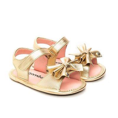 Sandália infantil Gambo com Laço Ouro