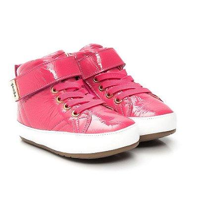 Bota Infantil Gambo Cadarço Elástico e Velcro Verniz Pink