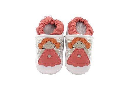 Pantufa Infantil Catz Nicky Anjo Branco e Coral