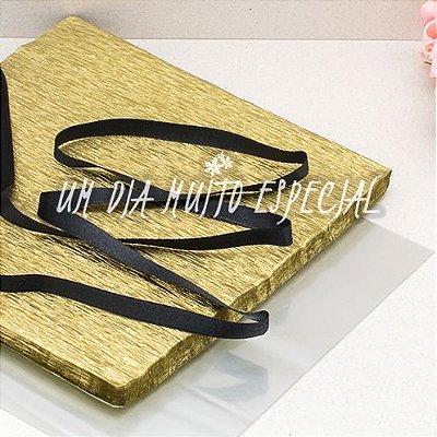 Kit Bem-casado Dourado/Preto: 120 Und Papel & Celofane + 100m Fita de Cetim 7mm