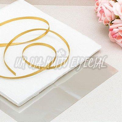 Kit para Bem-casado Branco/Dourado: 120 Und Papel & Celofane + 100m Fita de Cetim 4mm