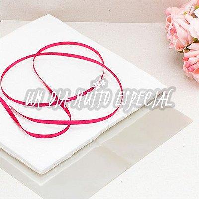 Kit Bem-casado Branco/Pink: 120 Und Papel & Celofane + 100m Fita de Cetim 4mm