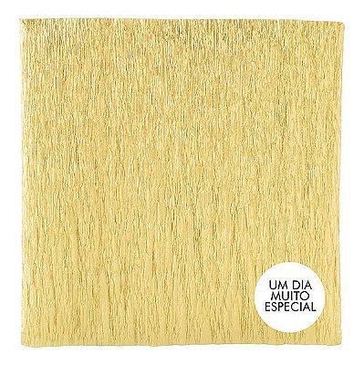 Papel Crepom com Celofane 15x15cm Dourado