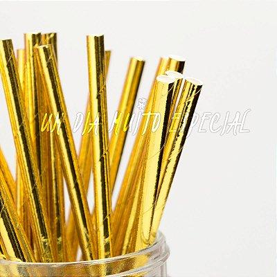 Canudo de Papel Dourado
