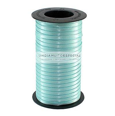 Fita Cetim Azul Turquesa Face Dupla 4mm X 100mts