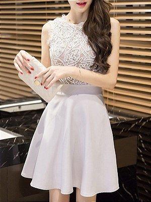 vestido sem mangas Elegante malha Panelled