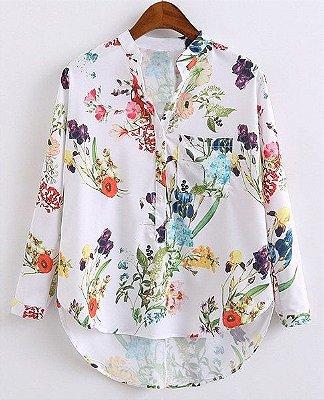 Blusa V-Neck floral de manga comprida