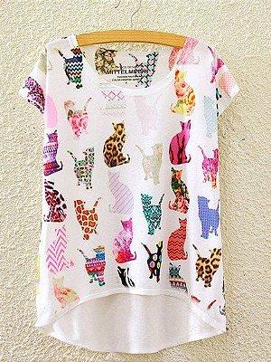 T-shirt de estampa de gatos