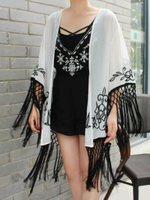Kimono chiffon bordado