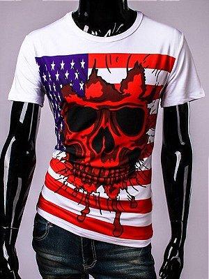 Camiseta com a bandeira dos EUA de caveira