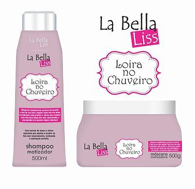 Loira no Chuveiro La Bella Liss Kit Shampoo 500ml + Máscara Matizadora 500g Efeito Platinado