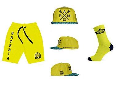 Combo Shorts Masculino + Boné + Meia Amarela