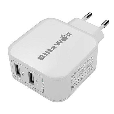 Carregador BlitzWolf® BW-S2 4,8A 24W USB DUplo com Tecnologia Power 3S Universal