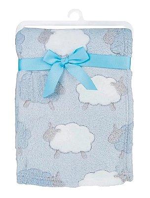 Mantinha Bebê Microfibra Hipoalérgica Ovelha Azul Buba