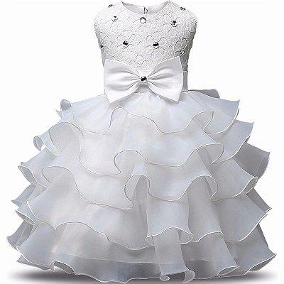 Vestido Infantil Festa Casamento Batizado Branco Laço